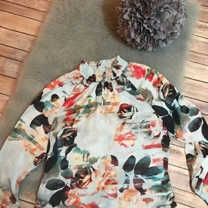 Robert Rodriguez Blue Floral Blouse S Sheer